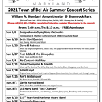 Summer Concert Series 2021 Schedule of Events Flyer